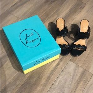 Jack Rogers Luccia black patent wedge sandals.